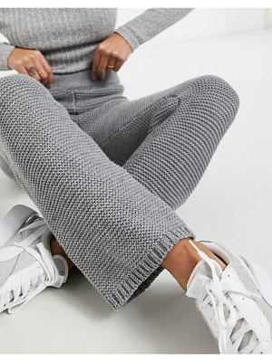 Skylar Rose knitted wide leg pants in textured knit co-ord-grey