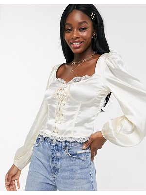 Skylar Rose milkmaid top with corset detail in satin-white