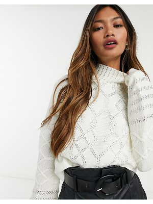 Skylar Rose relaxed cableknit sweater with beading-cream