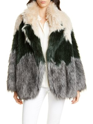 Smythe tricolor faux fur coat