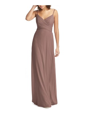 Social Bridesmaids crossover v-neck chiffon trumpet gown