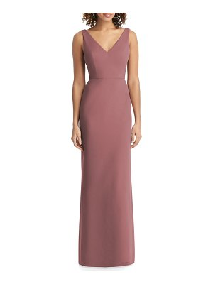 Social Bridesmaids v-neck back tie chiffon trumpet gown