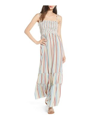 Socialite smocked stripe maxi dress