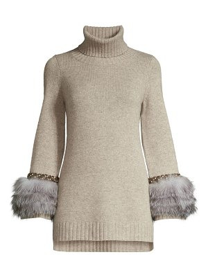 Sofia Cashmere cashmere fur-cuff turtleneck sweater