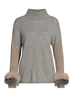 Sofia Cashmere fox fur cashmere mock-neck top
