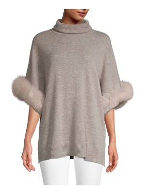 Sofia Cashmere Fox Fur Cuff Turtleneck Cashmere Sweater