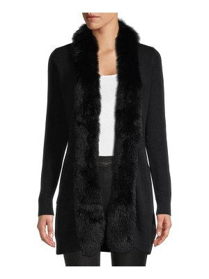 Sofia Cashmere Fox Fur-Trimmed Cashmere Cardigan Sweater