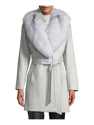 Sofia Cashmere Short Wrap Coat w/ Oversized Fur Shawl