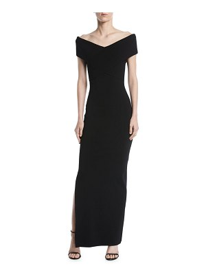 Solace London Adina Cross-Front Off-Shoulder Gown Dress