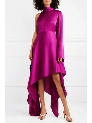 Solace London naida one-shoulder draped satin midi dress