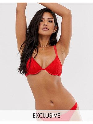 Sole East By Onia exclusive anna crinkle underwired bikini top in red