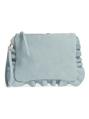 Sole Society faux leather ruffle clutch