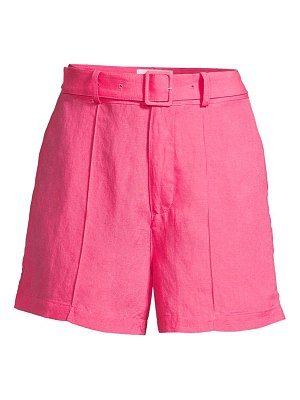 Solid and Striped belted tailored linen shorts