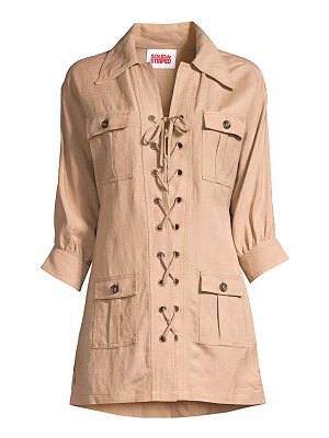 Solid and Striped linen-blend lace-up safari dress