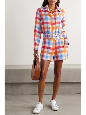 Solid & Striped belted gingham linen playsuit