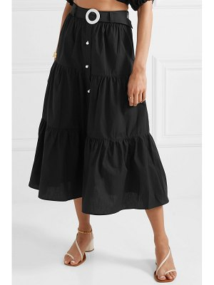 Solid & Striped belted tiered cotton-poplin midi skirt