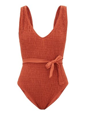 Solid & Striped michelle shirred belted swimsuit