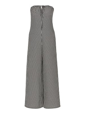 Solid & Striped strapless gingham seersucker jumpsuit size: l