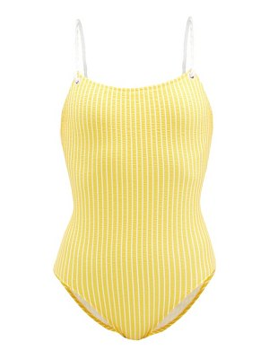 Issimo X Solid & Striped the nina rope-strap striped swimsuit