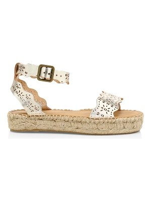 Soludos cadiz wave perforated metallic leather espadrille sandals