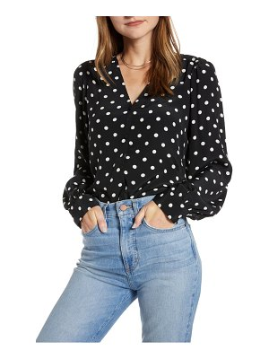 Something Navy balloon sleeve button front blouse