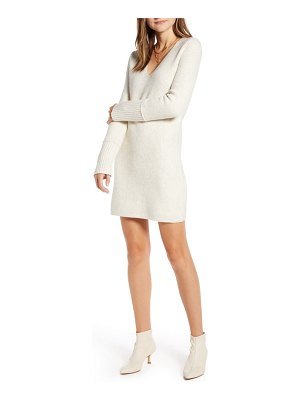Something Navy fitted long sleeve tunic sweater dress