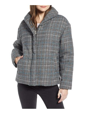 Something Navy plaid puffer jacket