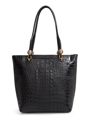 Sondra Roberts croc embossed faux leather tote