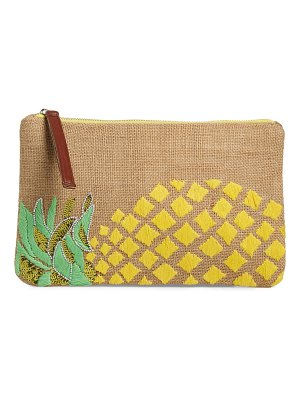 Sondra Roberts embellished pineapple jute clutch