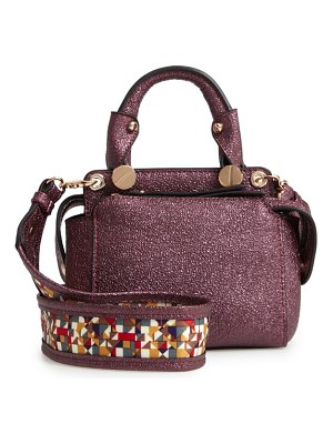 Sondra Roberts metallic faux leather mini satchel