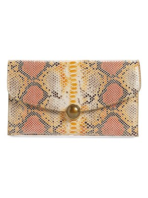 Sondra Roberts snake embossed faux leather clutch