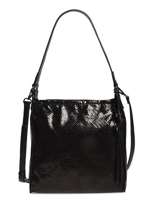 Sondra Roberts snake embossed faux leather hobo