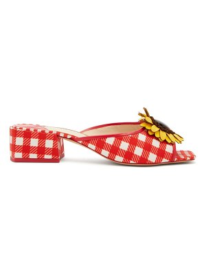 Sophia Webster doris leather-trim gingham mules