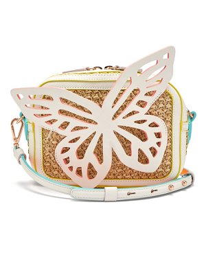 Sophia Webster flossy butterfly leather and raffia cross-body bag