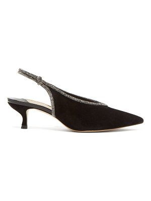 Sophia Webster giovanna crystal-trimmed suede slingback pumps