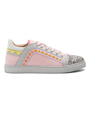 Sophia Webster Riko contrast-panel low-top leather trainers