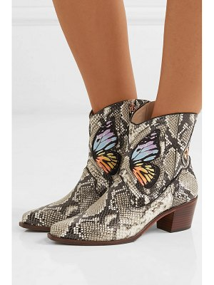 Sophia Webster shelby embroidered snake-effect leather ankle boots