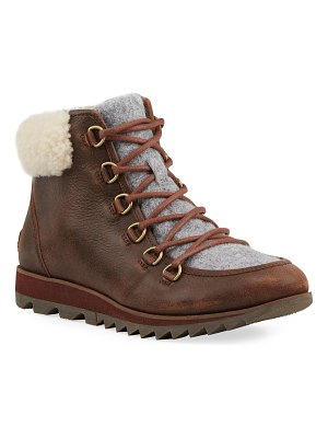 Sorel Harlow Shearling-Trim Leather Hiking Boots