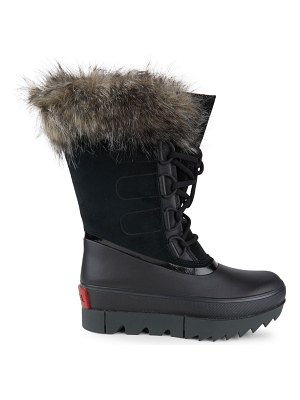 Sorel joan of arctic next faux fur-trimmed leather boots