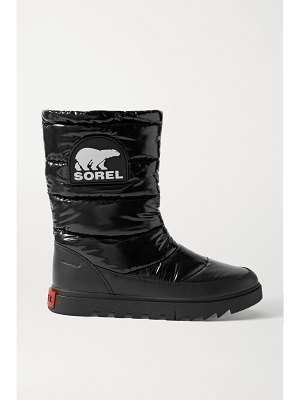 Sorel joan of arctic next lite waterproof leather-trimmed glossed-shell boots