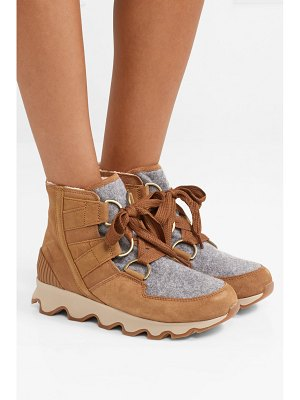 Sorel kinetic waterproof suede and felt ankle boots