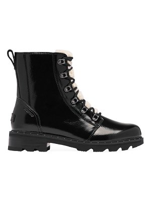 Sorel lennox shearling-trimmed patent leather combat boots