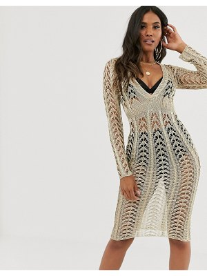 Sorelle uk knitted shimmer plunge front midaxi dress in gold
