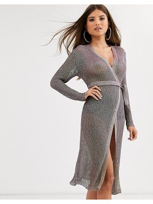 Sorelle uk knitted shimmer wrap midi dress with tie belt in rainbow-multi