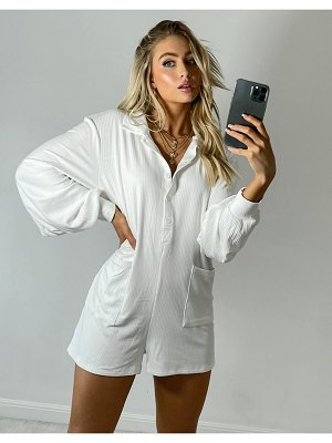 South Beach exclusive ribbed relaxed romper in cream-white