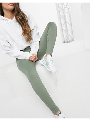 South Beach fitness seamless ribbed leggings in khaki-green