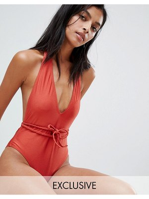 South Beach Plunge High Shine Belted Swimsuit
