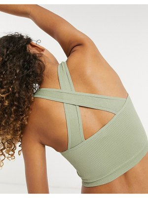 South Beach seamless ribbed cross back longline crop top in sage green