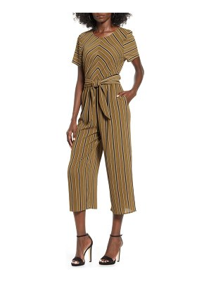 Speechless bubble crepe stripe jumpsuit
