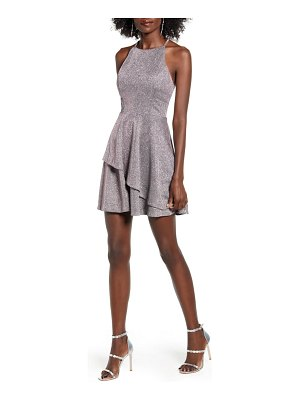 Speechless metallic layered fit & flare party dress